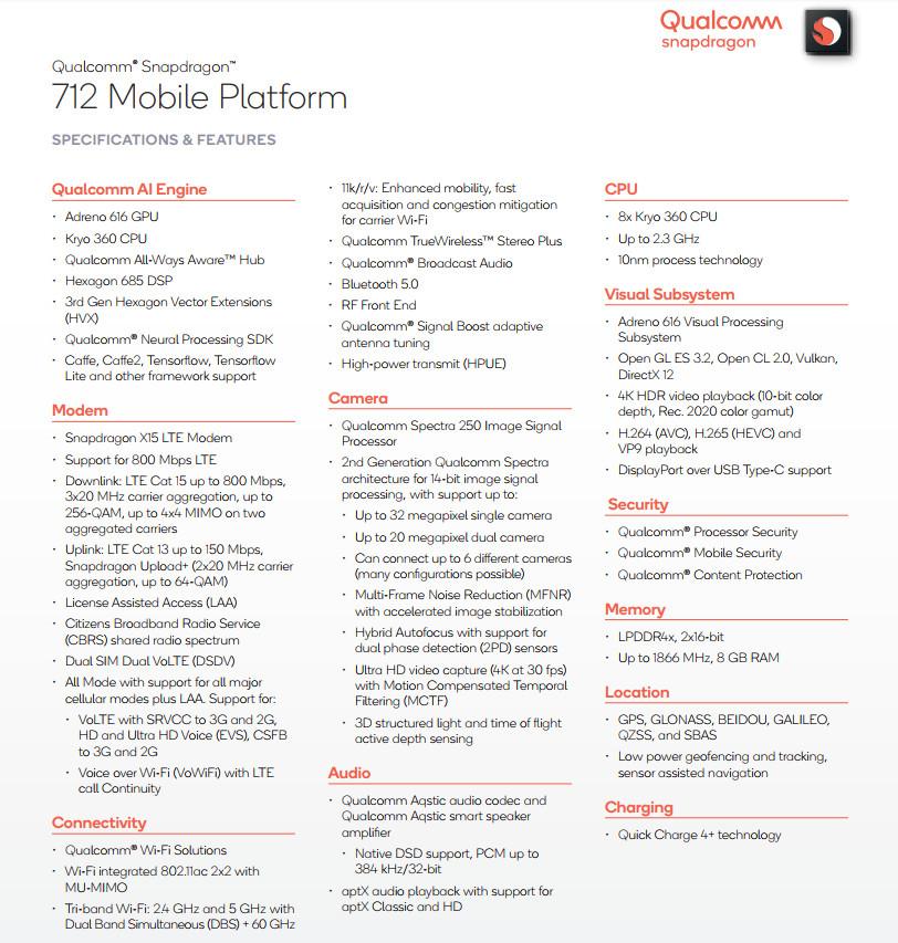 高通骁龙712移动平台发布:性能提升10% 快充更强