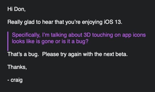 大乌龙!iOS 13中3D Touch不可用原来只是BUG