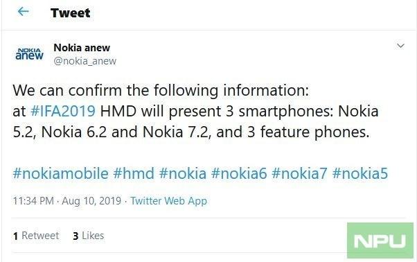 诺基亚将发布5.2、6.2和7.2三款新机