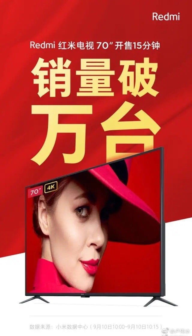 Redmi电视首销售:15分钟破万台