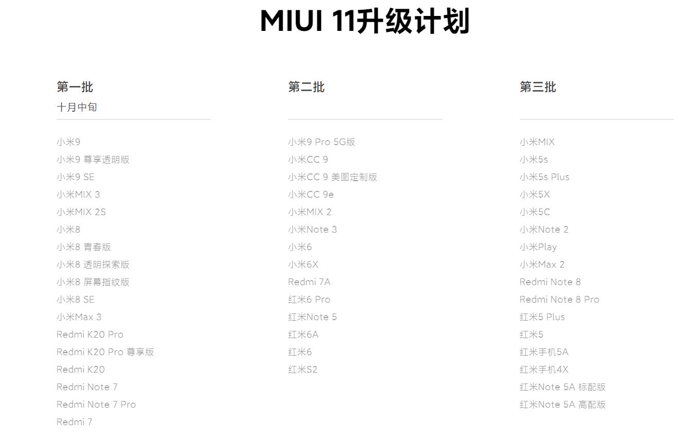 小米多款机型迎MIUI 11稳定版:老机型复苏