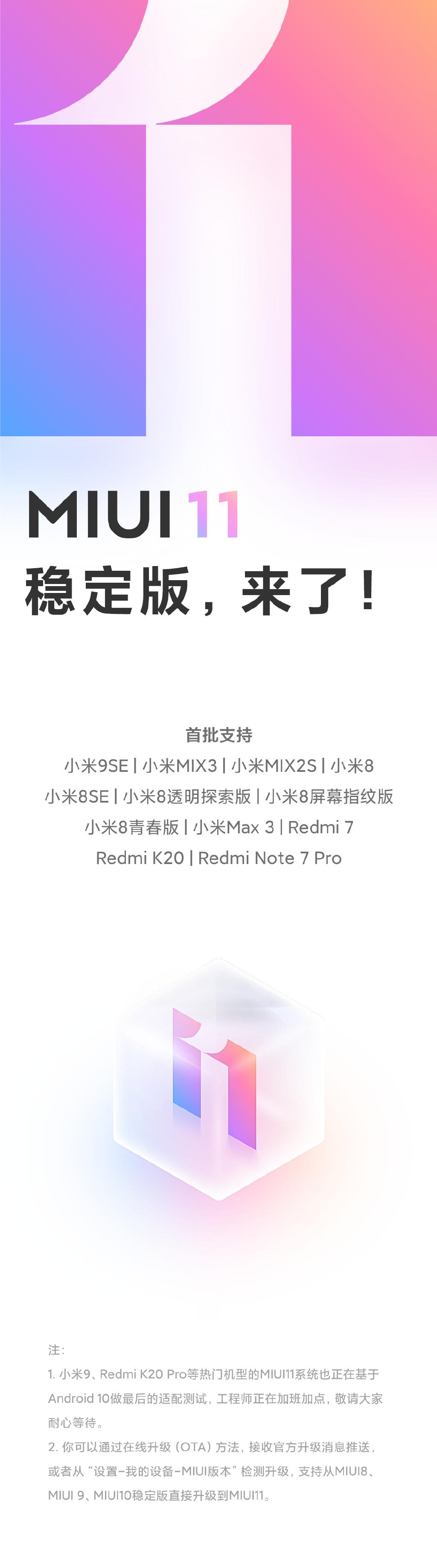 有你的嗎?首批支持MIUI 11穩定版機型公布:12款在列