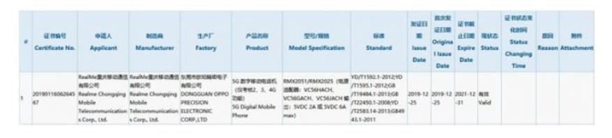 realme 5G新機通過3C認證 30W快充加持