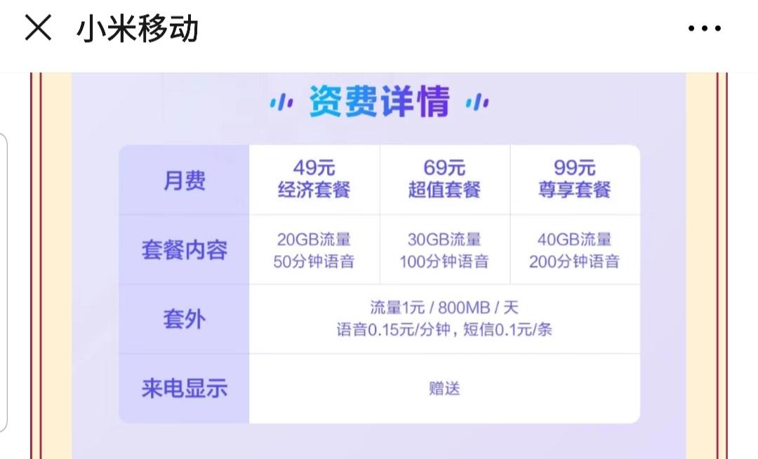 小米5G套餐推出:49元起、联通制式