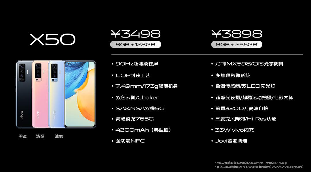3498元起 vivo X50系列发布 微云台主摄+惊喜超大杯