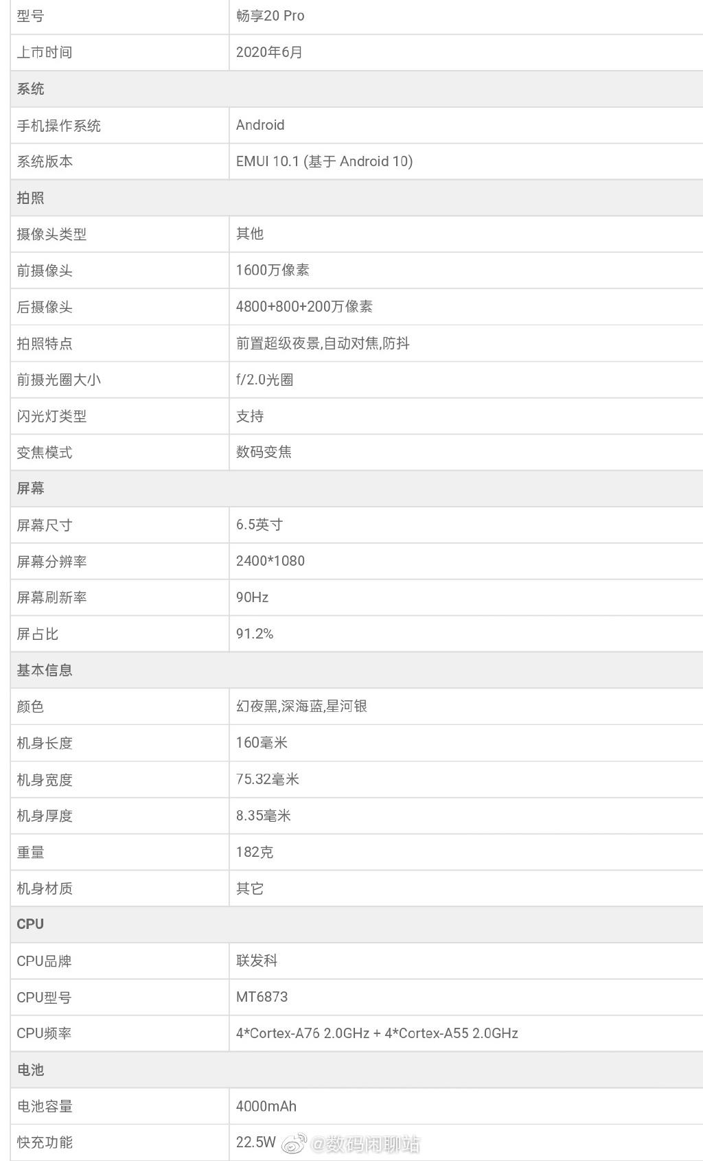 華為暢享20 Pro詳細參數曝光:天璣800+90Hz屏
