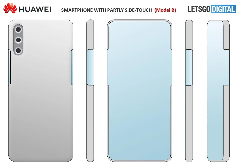 华为手机新专利曝光:半瀑布屏、屏下镜头