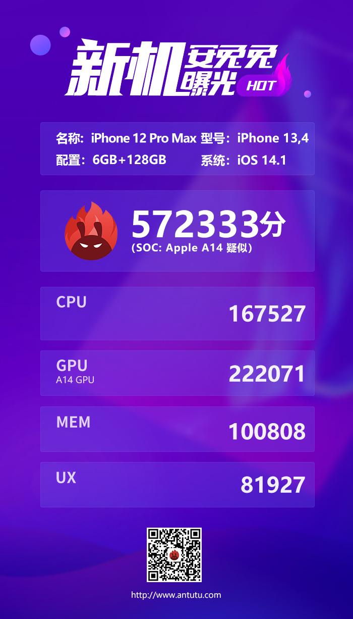 A14处理器战五渣 iPhone 12 Pro Max跑分首曝