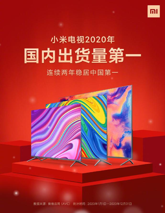 连续2年 小米电视中国第一!