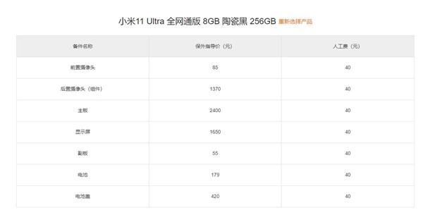 小米11 Ultra保外维修价格公布:最贵要2400元