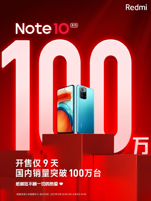 Redmi Note 10系列销量突破百万:旗舰芯加持