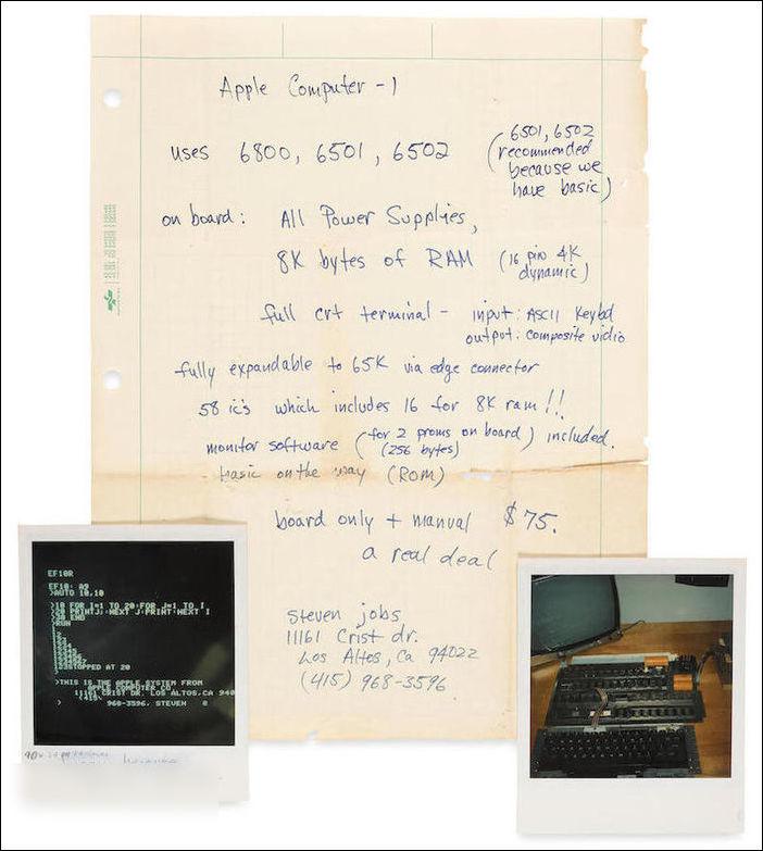 乔布斯手稿即将拍卖 预估价6万美元