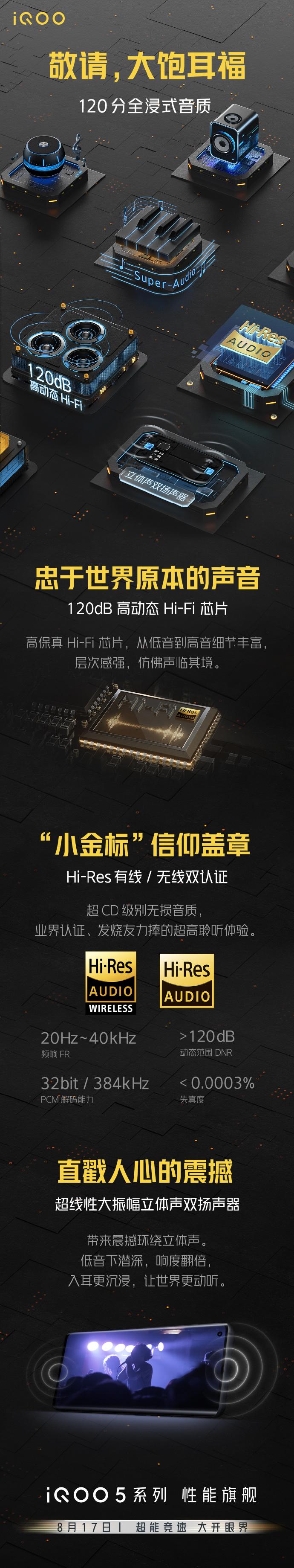 120dB高动态Hi-Fi芯片 iQOO新机音质数据公布