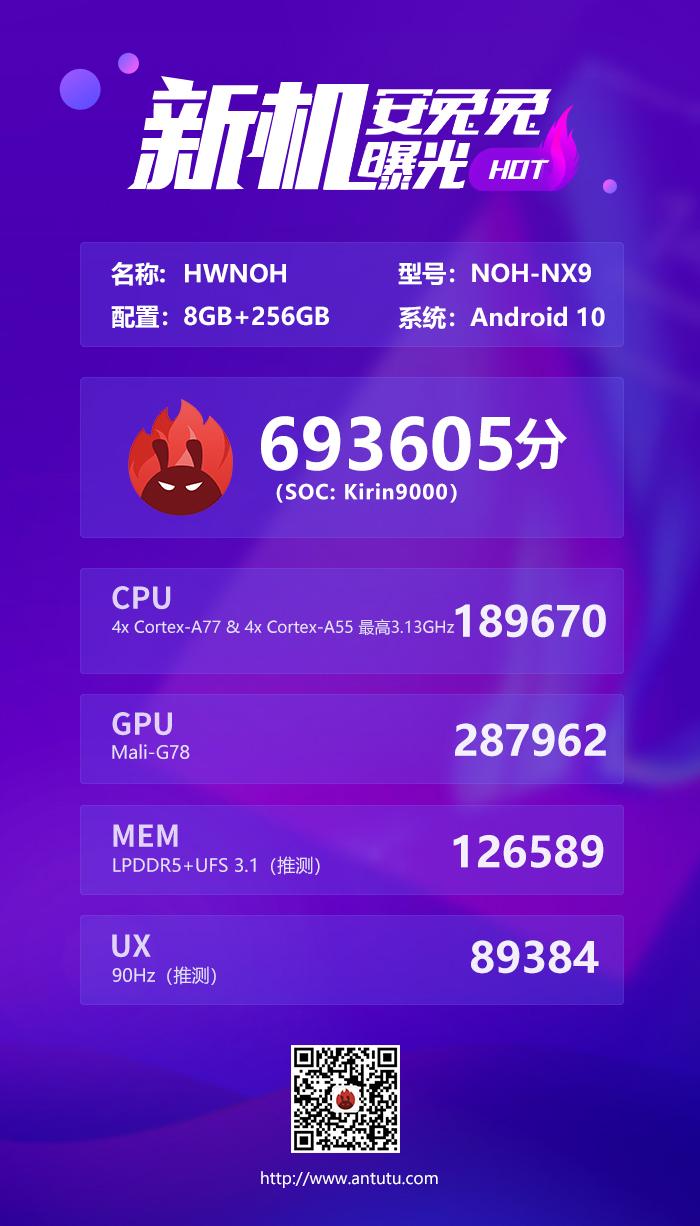 华为Mate 40跑分首曝:麒麟9000提升巨大