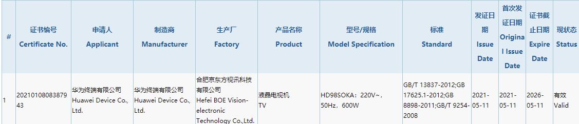华为智慧屏推新品:98英寸巨幕 屏幕来自京东方